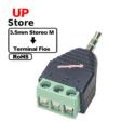 Adaptador  Plug 3.5mm Stereo F => Terminal Box 3 Vias