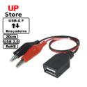 Cabo USB-A  F <=>  Clipe Jacaré 20cm
